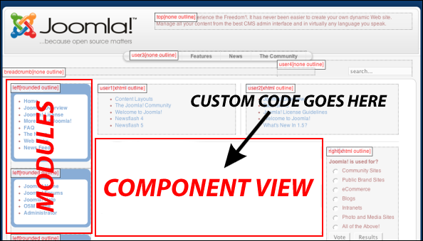 custom code in component view