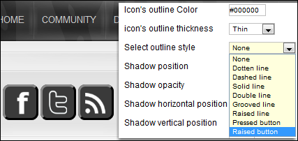 Selecting outline style